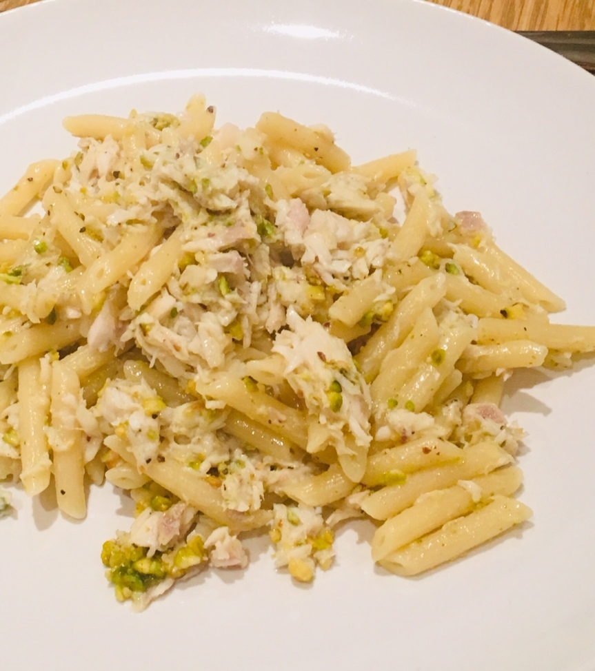 Fish and pistachio pasta