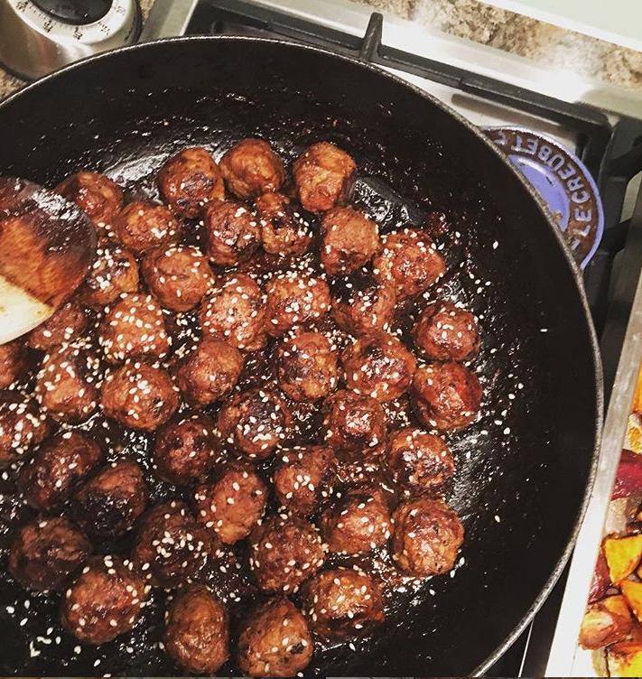 Hoisin Pork Meatballs, butternut squash and ricenoodles