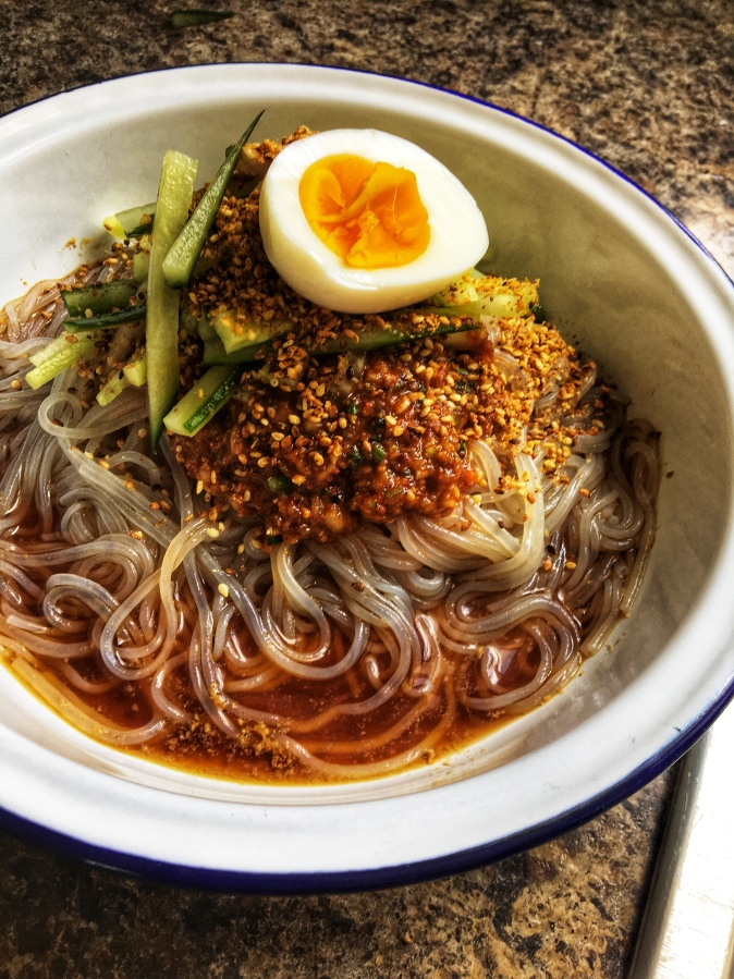 Classic cold spicy noodles fromKorea
