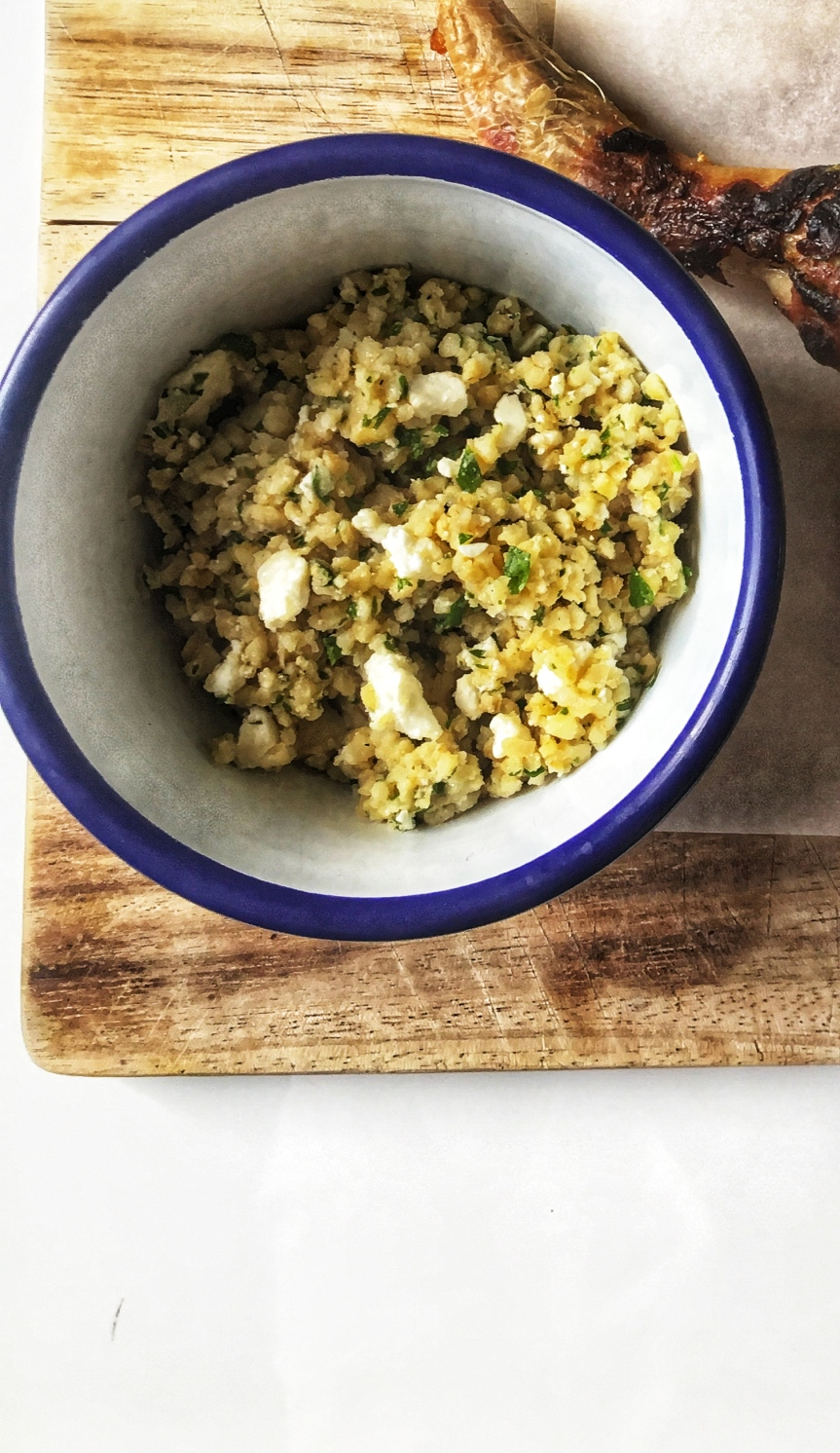 Bulgur Wheat, garlic, parsley and fetasalad