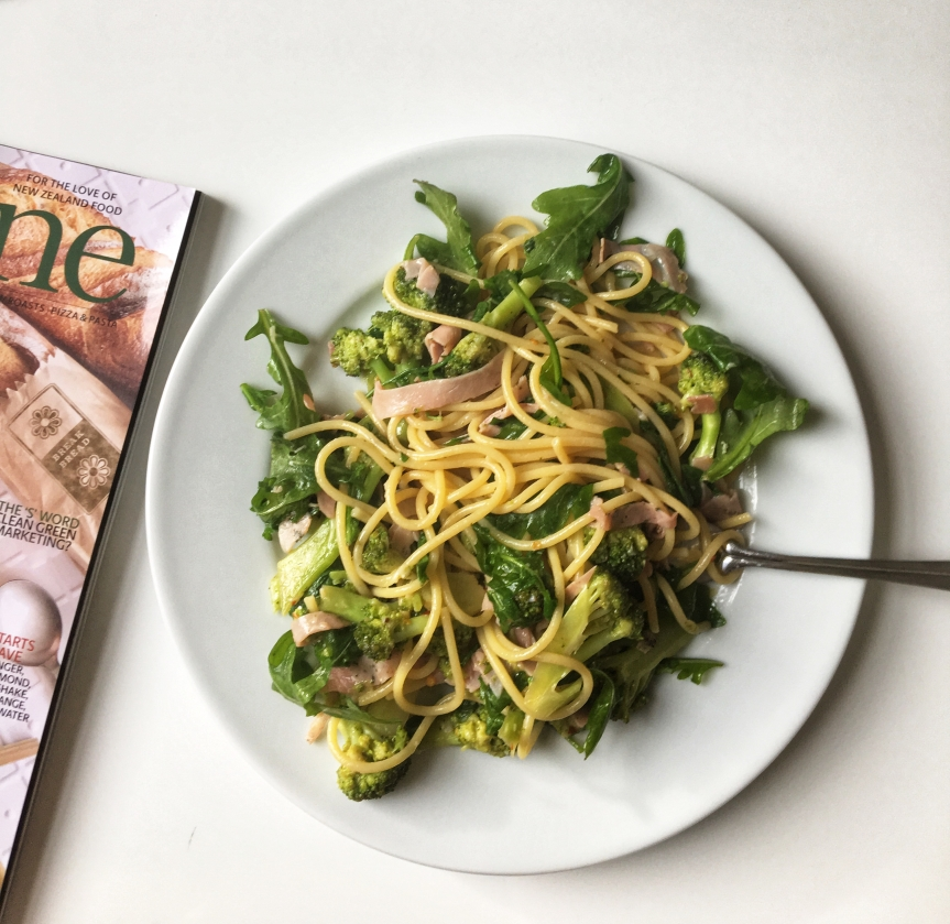 Pasta with chopped ham, brocolli, nutmeg and rocket