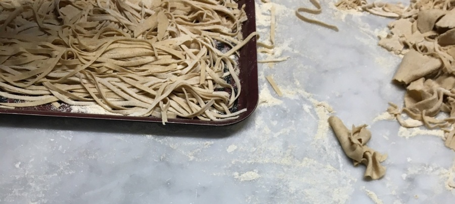 A recipe for fresh pasta with eggs; no pasta machine required